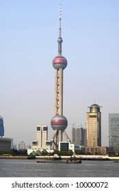 Skyline of the modern Pudong area in Shanghai