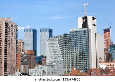 The skyline of modern skyscrapers in Midtown West district on Manhattan island (New York City).