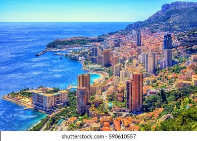 Skyline of Monaco and Monte Carlo, Cote d'Azur, Europe