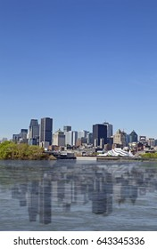 Skyline of Montreal city taken from the eastern side of the river