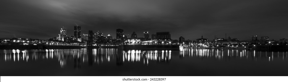 Skyline of Montreal in Panoramic View in Black and White picture at night