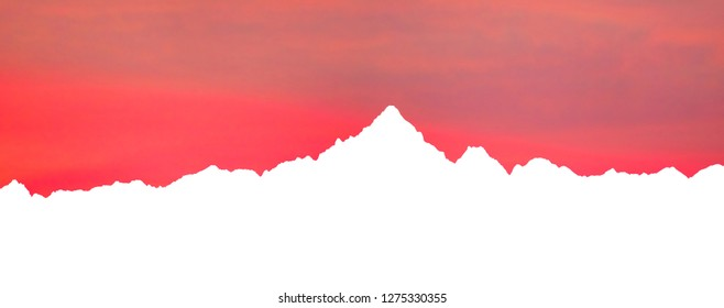 Skyline of Monviso mountains, the highest mountain of the Cottian Alps in Piedmont, Italy