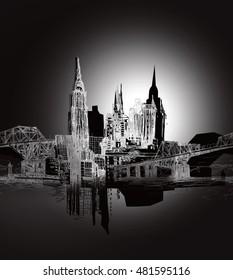 Skyline in moonlight black and white illustration