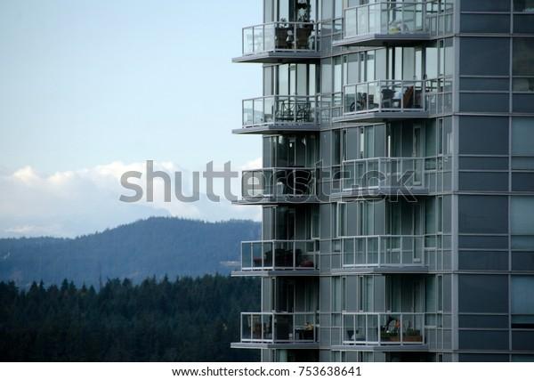Skyline of mountain ridge surrounding  Vancouver downtown, British Columbia