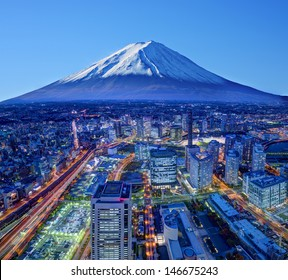 Skyline of Mt. Fuji and Yokohama, Japan.