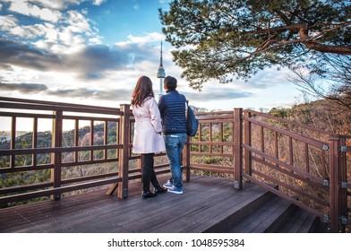 skyline at namsan mountain seoul korea