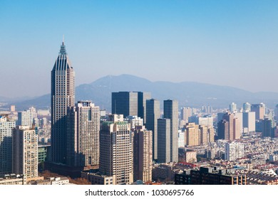 Skyline of Nanjing City at Noon on A Sunny Day in Winter