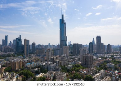 Skyline of Nanjing city in a sunny day. This image is taken with a drone flying over the city.