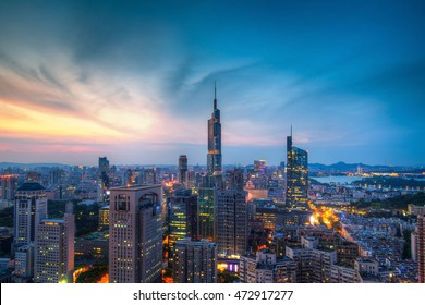 Skyline of Nanjing City at Sunset in Summer Take on The Roof of A Tall Building