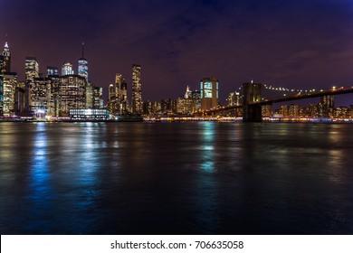 skyline from new york - brooklyn bridge