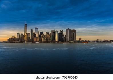skyline of new york at sunset