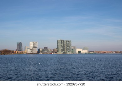 The Skyline of newtown Almere in the Netherlands