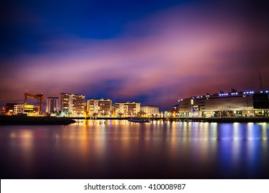 Skyline at Night over the River Lagan, Belfast City, Northern Ireland, United Kingdom (UK).