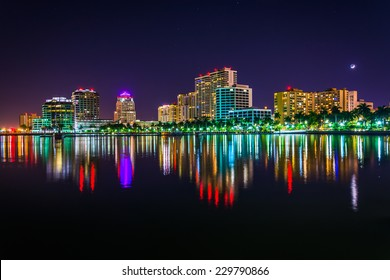 The skyline at night in West Palm Beach, Florida.