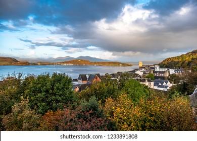 The skyline of Oban in autumn, Argyll in Scotland - United Kingdom