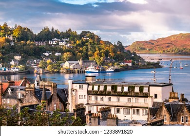 The skyline of Oban in autumn, Argyll in Scotland - United Kingdom