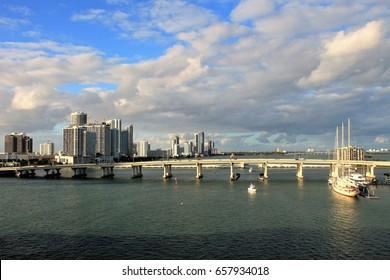 Skyline and ocean views of city of Miami