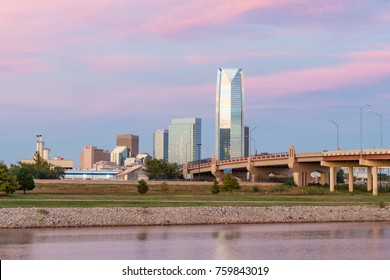 Skyline of Oklahoma City, OK during sunset