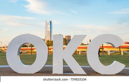 Skyline of Oklahoma City, OK with OKC sign