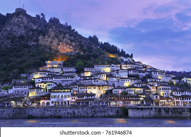 Skyline of the old city of Berat with its ancient houses, in Albania.