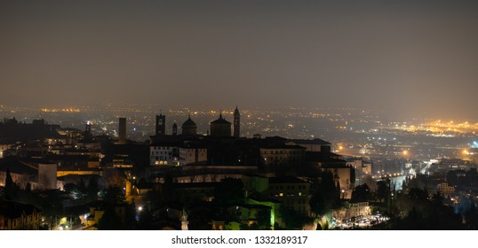 Skyline of the old city of Bergamo at night