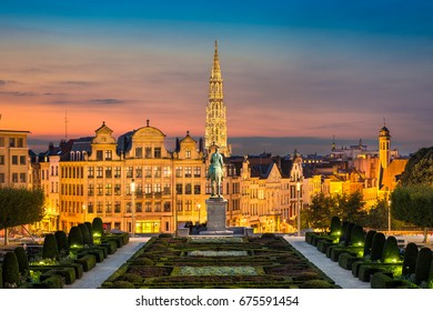 Skyline of the old city of Brussels, Belgium during sunset