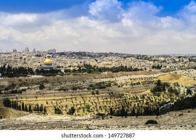 Skyline of the Old City in Jerusalem, Israel.