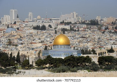 Skyline of the Old City at the Western Wall and Temple Mount in Jerusalem