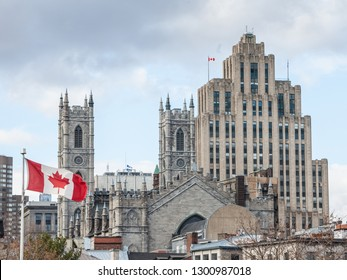 Skyline of Old Montreal, with Notre Dame Basilica in front, a vintage stone Skyscraper in background & a Canadian flag waiving. The basilica is the main cathedral of Montreal, Quebec, Canada