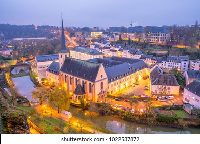 Skyline of old town Luxembourg City from top view  in Luxembourg