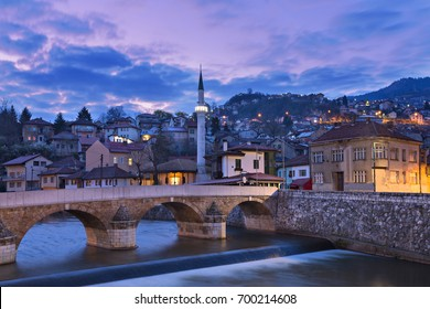 Skyline of the old town at the sunrise in Sarajevo, Bosnia and Herzegovina.