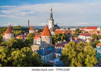 Skyline of the Old Town in Tallinn, Estonia