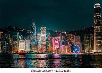 Skyline on Victoria Harbor, in Hong Kong. View from Kowloon on HK Island.