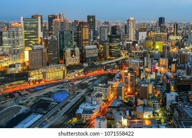 Skyline of Osaka City at dusk