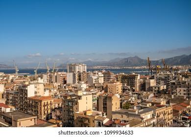 Skyline of Palermo, Sicily, Italy looking towards the sea