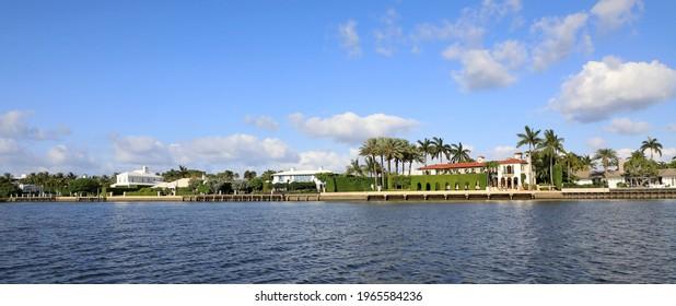 The skyline of Palm Beach, Florida on a sunny afternoon.