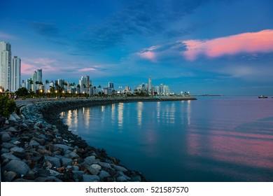 Skyline of Panama City at blue hour