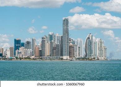 Skyline of Panama City - modern skyscraper buildings in downtown business district  -