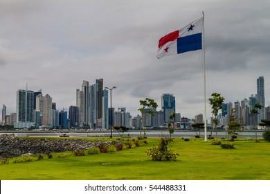 Skyline of Panama City with panamANian flag