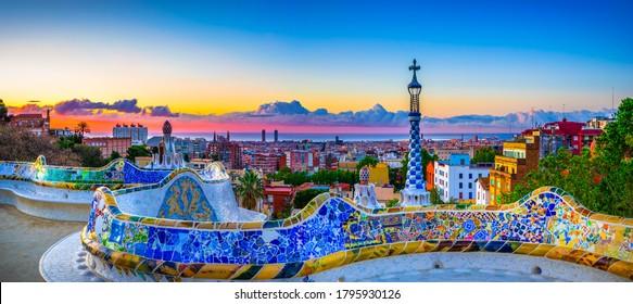 Skyline panorama of Barcelona at sunrise. Spain