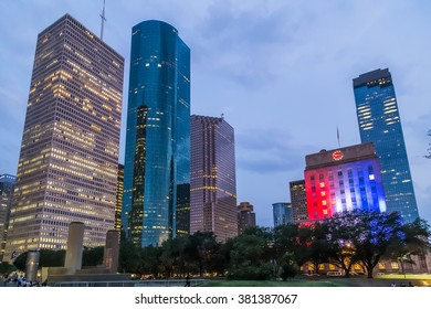 Skyline Panorama of City Hall and Downtown Houston, Texas by night