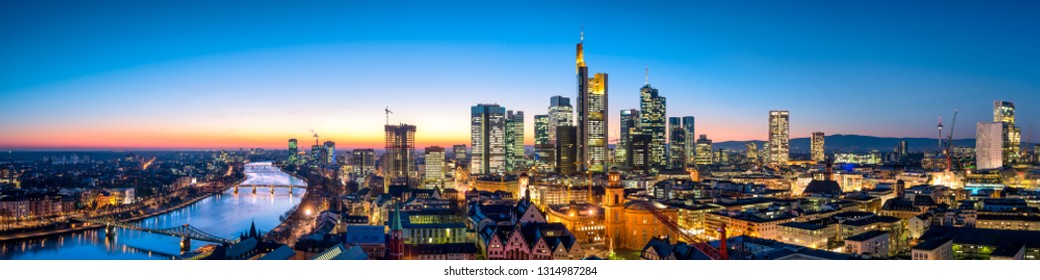 Skyline panorama of Frankfurt am Main at night,  Hesse, Germany