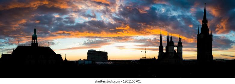Skyline Panorama of Halle Saale at sunset