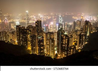 Skyline panorama of Hong Kong downtown, Hong Kong. October 2015