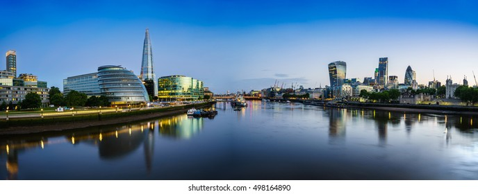 Skyline panorama of London at dusk. UK