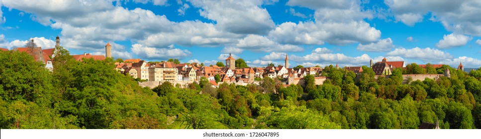 Skyline panorama of Rothenburg ob der Tauber city in Germany