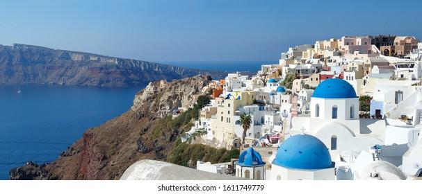 Skyline Panorama of Santorini, Greece and the Surrounding Mountains and Bay