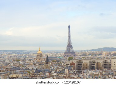 skyline of Paris city with eiffel tower from above, France
