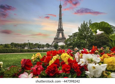 Skyline of Paris city roofs with Eiffel Tower with beatiful spring flowers Paris, France