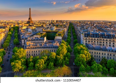 Skyline of Paris with Eiffel Tower in Paris, France. Panoramic sunset view of Paris. Architecture and landmark of Paris.